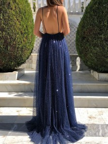 Charming A Line V Neck Spaghetti Straps Navy Sequins Long Prom Dresses, Sparkly Evening Party Dresses PD0331012