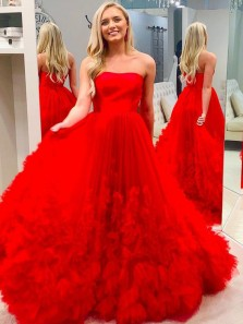 Gorgeous Ball Gown Strapless Red Tulle Long Prom Dresses with Flowers, Quinceanera Dresses