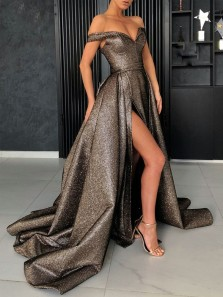 Ball Gown Off the Shoulder Metallic Color High Split Long Prom Dresses, Elegant Evening Dresses