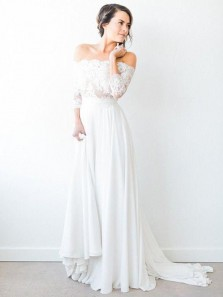 Charming A Line Off the Shoulder 3/4 Sleeves Chiffon Wedding Dresses with Lace, Beach Wedding Dresses WD0331001