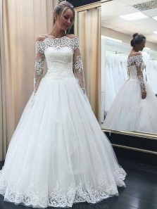 Gorgeous Ball Gown Off the Shoulder Long Sleeves Ivory Lace Wedding Dresses