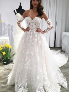 Gorgeous Ball Gown Sweetheart Long Sleeves Wedding Dresses with Court Train