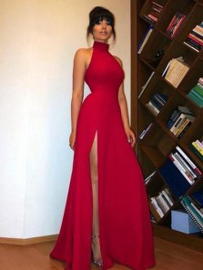 Charming A Line Halter High Split Dark Red/ Black Long Prom Dresses with Lace, Sexy Evening Dresses