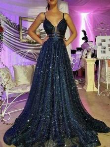 Gorgeous V Neck Spaghetti Straps Navy Beading Long Prom Dresses, Sparkly Long Evening Dresses