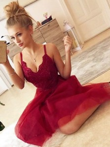 Cute A Line V Neck Spaghetti Straps Dark Red Short Homecoming Dresses with Lace, Short Prom Dresses