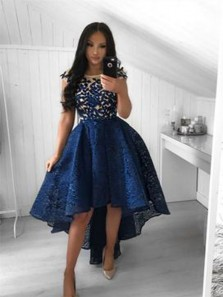 Elegant A Line Round Neck Navy Lace High Low Homecoming Dresses with Appliques
