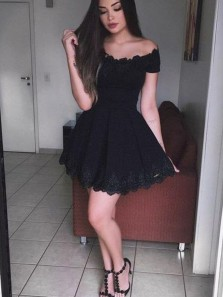 Charming A Line Off the Shoulder Short Sleeves Black Lace Short Homecoming Dresses, Cute Short Prom Dresses, Little Black Dresses