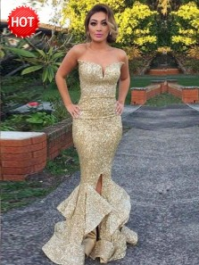 Gorgeous Mermaid Sweetheart Sweep Train Gold Sequin Prom Dress with Ruffles, Evening Party Dresses