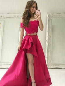 Two Piece Off-the-Shoulder High Low Red Satin Prom Dress with Lace Beading 48458000