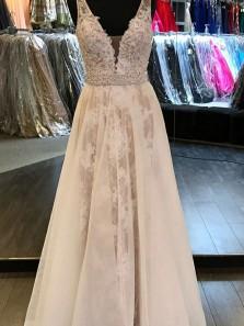 Elegant A Line V Neck Backless Ivory Tulle & Lace Wedding Dresses WD0719001