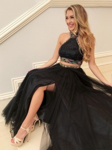 Charming Two Piece Halter Backless Black Prom Dress with Beading, Beautiful Splity Evening Dresses 30004604