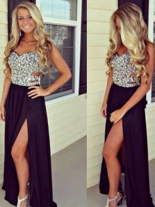 Sexy Sweetheart Split Black Chiffon Beading Long Prom Dresses, Sparkly Evening Dresses