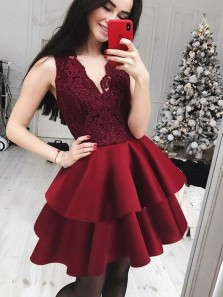 Cute A Line V Neck Burgundy Lace Satin Short Homecoming Dresses, Short Prom Dresses