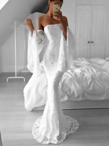 Elegant Mermaid Strapless Ruffled Sleeves White Lace Long Prom Dresses, Beautiful Evening Dresses PD0408004