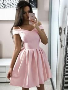 Cute A Line Off the Shoulder Pink Satin Short Homecoming Dresses Under 100, Short Party Dresses