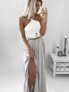 Boho A Line Spaghetti Straps Cross Back Grey Chiffon Split Long Prom Dresses, Summer Beach Dresses Under 100