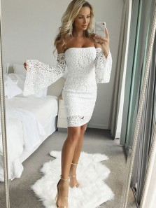 Charming Sheath Sweetheart Ruffled Sleeves White Lace Short Homecoming Dresses, Short Party Dresses