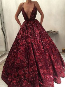 Gorgeous Ball Gown Deep V Neck Spaghetti Straps Dark Red Sequins Lace Long Prom Dresses with Pockets, Quinceanera Dresses PD0416005