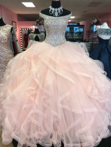 Pretty Ball Gown Off the Shoulder Blush Pink Beading Long Quinceanera Dresses, Sparkly Prom Dresses PD0425001
