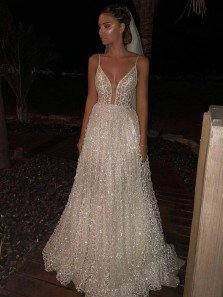 Gorgeous V Neck A Line Sparkly Sequins Lace Long Wedding Dresses with Train