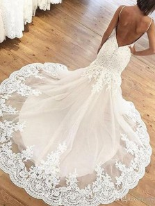 Gorgeous Mermaid Sweetheart Spaghetti Straps Lace Wedding Dresses with Appliques