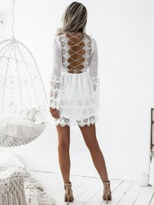 Boho A Line V Neck Long Sleeves Cross Back Straps White Short Lace Homecoming Dresses, Beautiful Summer Beach Dresses HD0505001