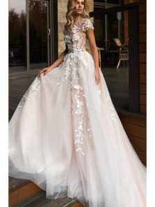Charming Ball Gown Round Neck Open Back Cap Sleeves Lace Wedding Dresses, Fairy Wedding Dress