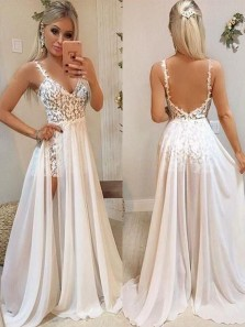 Sexy A Line V Neck Open Back Chiffon Lace Ivory Two Piece Wedding Dresses, Beach Wedding Dresses