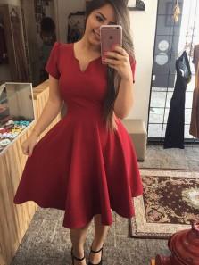 Cute Short V Neck Cap Sleeves Burgundy Satin Homecoming Dresses Under 100, Short Prom Dresses with Pockets