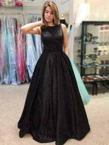 Charming Ball Gown Round Neck Black Satin Long Prom Dresses with Pockets, Beading Evening Dresses PD0505002