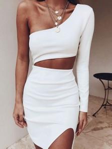 Sexy Sheath One Shoulder Two Piece White Short Party Dresses, Mini Dresses