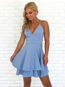Cute A Line V Neck Spaghetti Straps Blue Lace Short Dresses, Summer Dresses