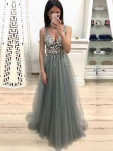 Gorgeous A Line V Neck Grey Beading Long Prom Dresses, Sparkly Beautiful Evening Party Dresses