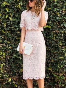 Elegant Lace Pink Round Neck Two Piece Half Sleeves Tea Length Wedding Guest Dresses, Formal Dresses Under 100 WGD0603001