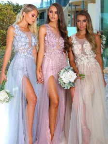 Beautiful A Line Round Neck Open Back Tulle and Lace Long Bridesmaid Dresses BD0603001