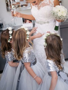 Cute A Line Round Neck Cap Sleeves Silvery Sequins and Tulle Flower Girl Dresses Under 100 with Bow !