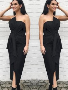 Sheath Bow Strapless Split Black Tea Length Bridesmaid Dresses, Fashion Outfits