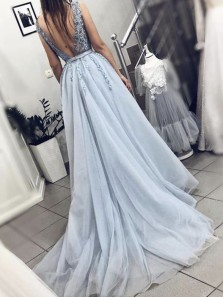 Fairy V Neck Backless Light Blue Appliques Long Prom Dresses, Elegant Evening Dresses PD1121008