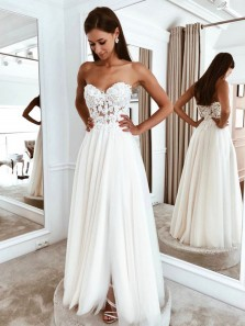 Fairy A Line Sweetheart Ivory Lace Simply Wedding Dresses, Beach Wedding Dresses, Lawn Wedding Dresses