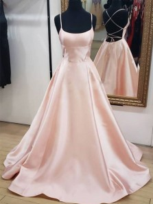 A Line Spaghetti Straps Cross Back Blush Pink Satin Long Prom Dresses with Pockets Under 100