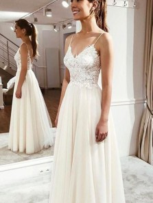 Simple A Line Spaghetti Straps Ivory Lace Wedding Dresses, Fairy Beach Wedding Dresses