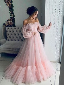 Gorgeous Off the Shoulder Ruffled Sleeves Pink Long Prom Dresses, Ball Gown Quinceanera Dresses