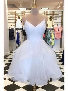 Sparkly A Line V Neck Spaghetti Straps Tulle Short White Homecoming Dresses, Short Party Dresses