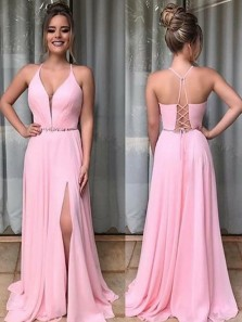 A Line V Neck Spaghetti Straps Pink Chiffon Long Prom Dresses with Beading, Fashion Cross Back Evening Dresses