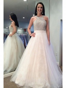 Cute A Line Ivory Lace Prom Dresses, Long Tulle Prom Dresses with Beading