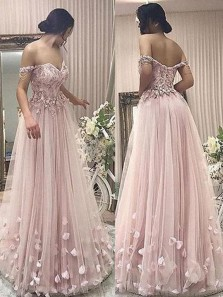 Stylish A-Line Off-Shoulder Pink Tulle Long Prom/Evening Dress with Appliques, princess long prom dresses