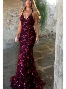 Spaghetti Straps Burgundy Sequins Lace Prom Dress, Custom Sexy Mermaid Evening Gown Party Dresses