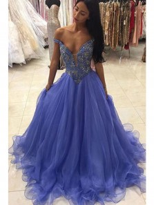 Charming Ball Gown Off Shoulder Tulle Teal Prom Dress with Beading