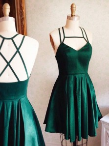 Simple A-Line Strap Square Sleeveless Dark Green Satin Short Homecoming Dress Under 100 with Pockets