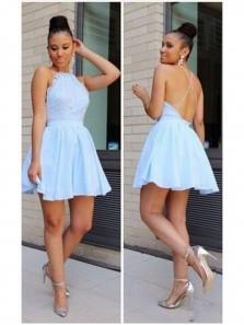 Sexy Light Blue Homecoming Dress, Halter Homecoming Dress, Short Backless Homecoming Dress Under 100